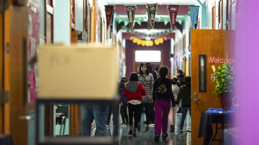 LOS ANGELES, CALIF. - JANUARY 15: Students are seen in the hallway of Elysian Heights elementary sch