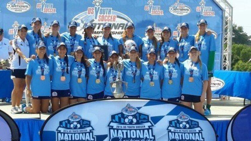 The Del Mar Carmel Valley GU 17 Elite champs take a victory photo.