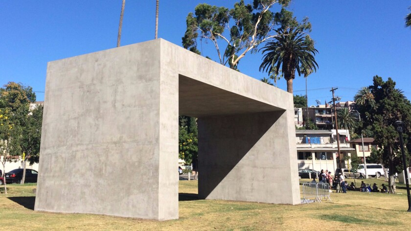 """""""La Sombra (The Shade),"""" by Teresa Margolles at Echo Park Lake is part of """"Current: LA Water."""""""