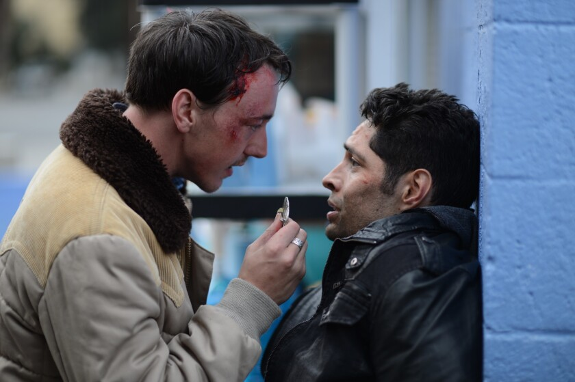 """Chris Coy, left, and Max Arciniega in """"The Barber."""""""
