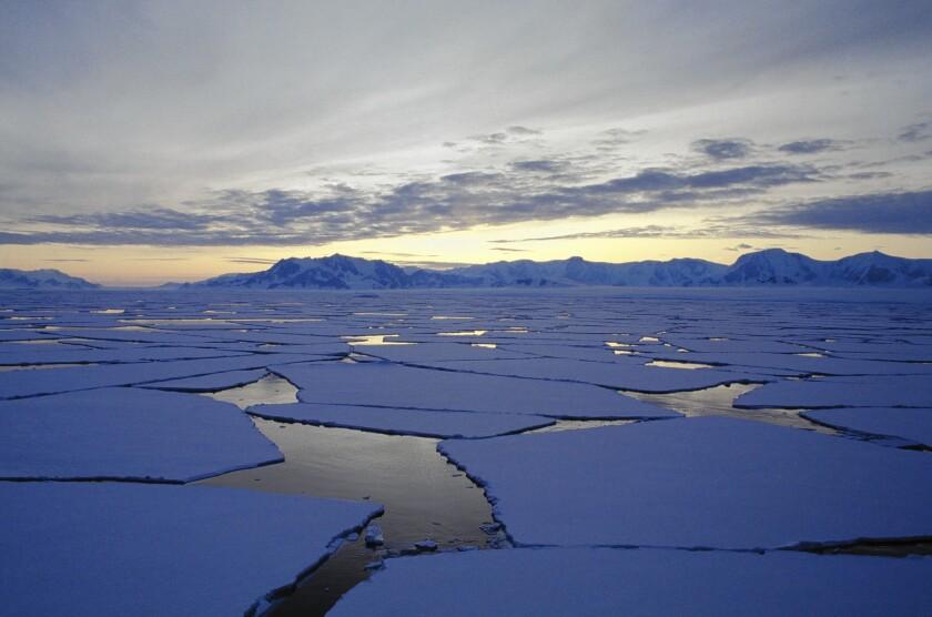 Antarctica, Alexander Island, Broken ice flows at sunset
