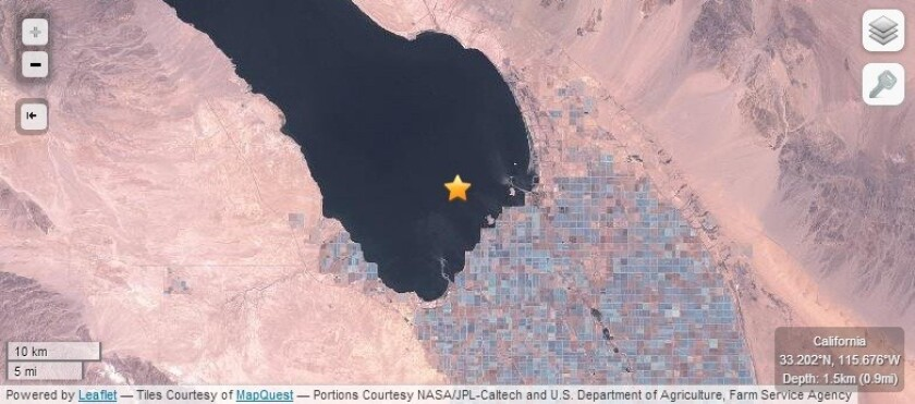 This star provided on a map of the Salton Sea shows where a series of earthquakes struck since Sunday night.