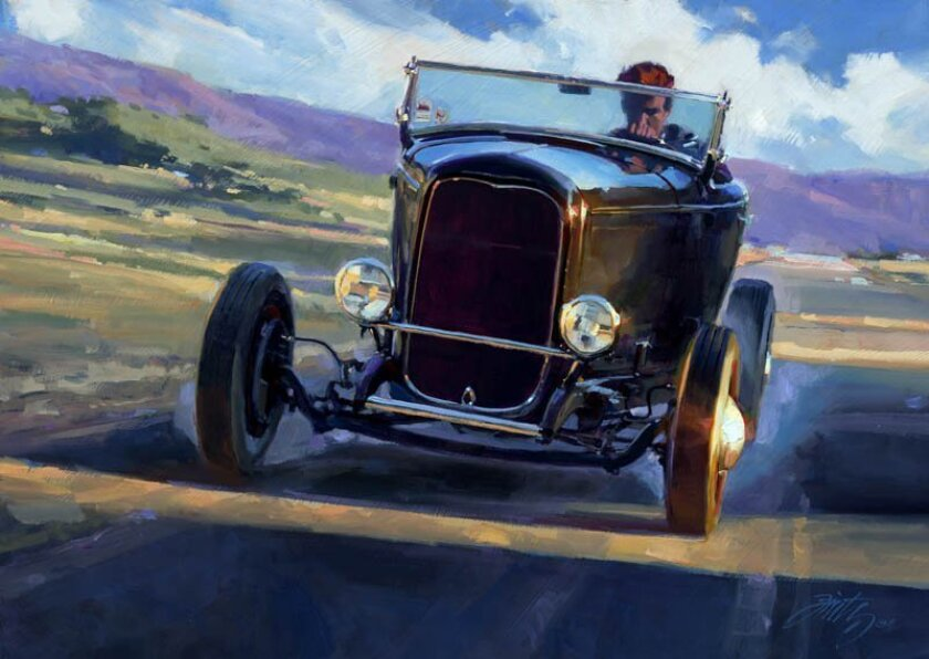 """Tom Fritz's oil painting """"Hookey Business"""" is among the works in the new exhibit """"IMMORTALIZED: Rods and Customs of Distinction"""" in downtown Escondido."""