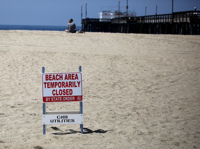 It was almost empty on the beach next to the closed Balboa Pier in Newport Beach on Saturday.