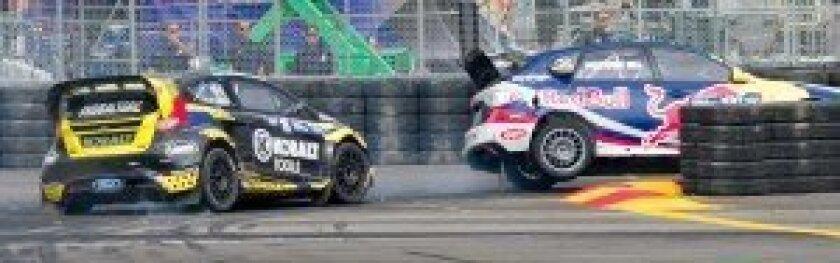 Hard racing through a turn.