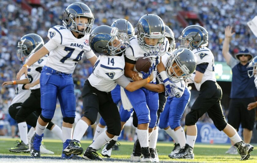 In this Aug 13, 2016, file photo, youngsters play in a pee-wee football game during halftime of a preseason NFL football game between the Los Angeles Rams and the Dallas Cowboys in Los Angeles.