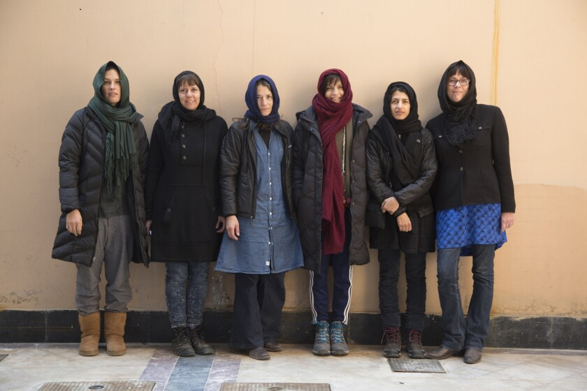 The six L.A. area artists who traveled to Afghanistan: Jennifer Guidi, left, Liz Craft, Lisa Anne Auerbach, Francesca Gabbiani, Toba Khedoori and Meg Cranston.