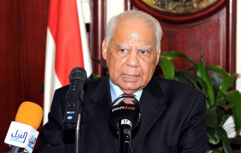 Egypt's then-finance minister, Hazem Beblawi, addresses a news conference in Cairo on July 17, 2011.