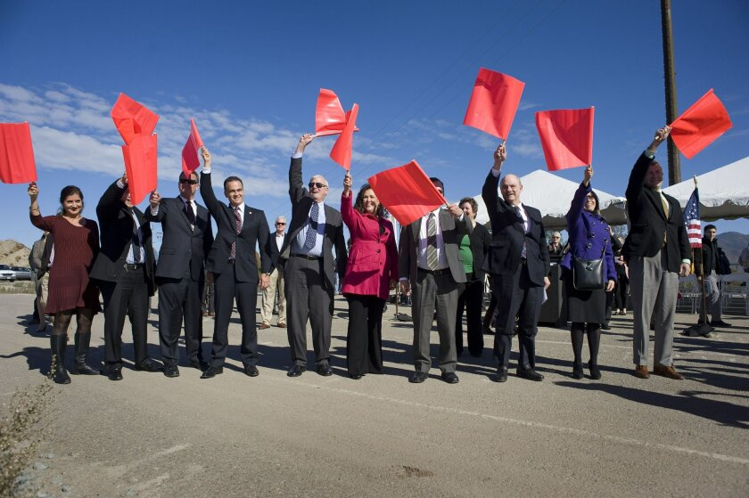 U.S. and Mexican dignitaries celebrate the launching of construction of state Route 11--a first step for the planned Otay Mesa East Port of Entry.