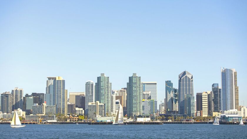 Downtown San Diego from aboard Hornblower's Whale Watching Cruises on January 19, 2019.