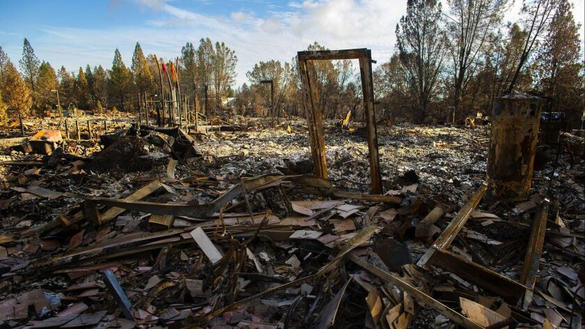 A 36-unit apartment complex is reduced to rubble after the Camp fire in Paradise, California on Nov. 30.
