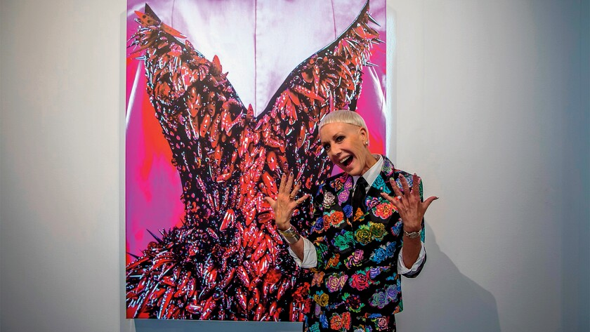 Jan Arnold, the power behind creative nail art, at the Oct. 5 opening of 'Tiny Canvases: The Art of Nails;' on exhibit at Oceanside Museum of Art