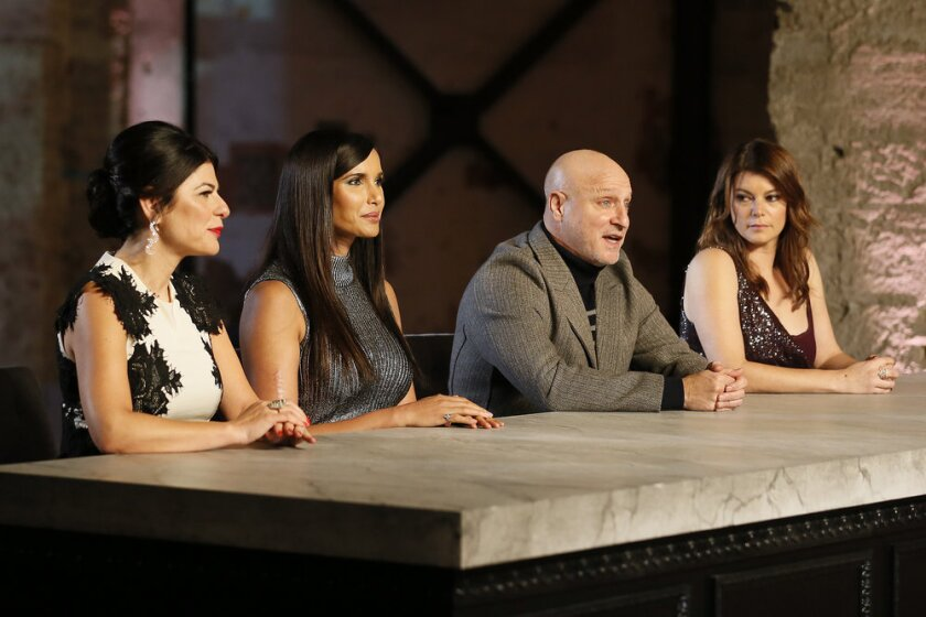 Nilou Motamed, from left, Padma Lakshmi, Tom Colicchio and Gail Simmons presided over the finale's judges' table.