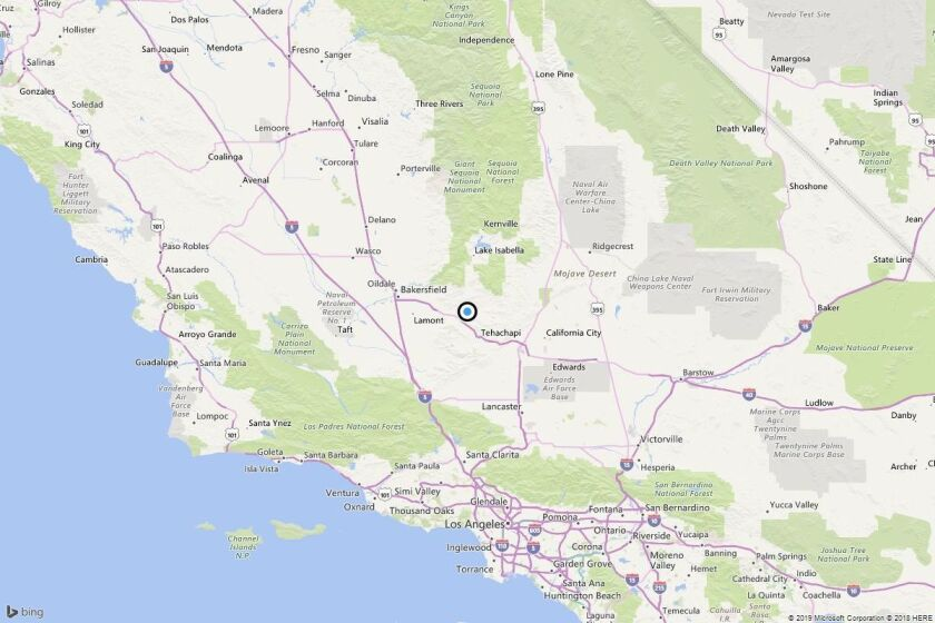 A map showing the location of the epicenter of Sunday morning's quake near Fig Orchard, Calif..