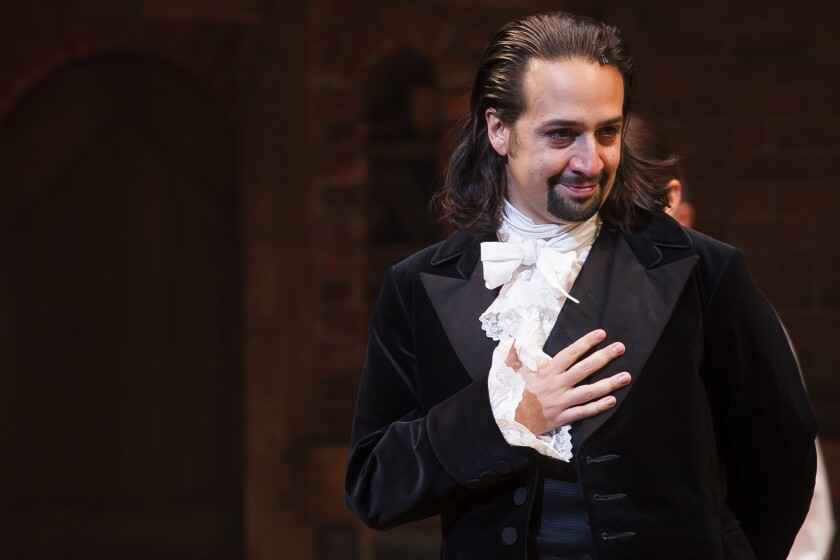 "Lin-Manuel Miranda, in costume as Alexander Hamilton, has won a MacArthur ""genius"" grant for his work as a writer, composer and performer for stage musicals, including the Broadway hit ""Hamilton."""