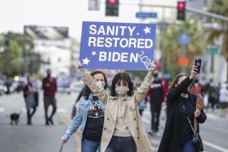LOS ANGELES, CA - NOVEMBER 07: Angelenos celebrate Biden/Harris win near City Hall on Saturday, Nov. 7, 2020 in Los Angeles, CA. (Irfan Khan / Los Angeles Times)