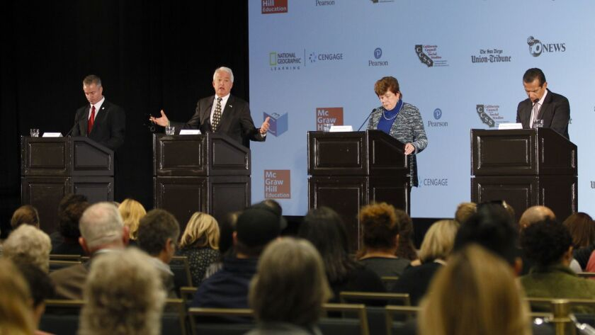 At a gubernatorial debate hosted by the California Council for the Social Studies in San Diego candidates answered questions from panelist as well as those from the public.