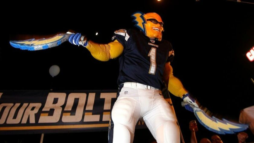 Boltman, or Dan Jauregui, fires up supporters for Measure C, the measure for the downtown San Diego Chargers stadium, in this file photo.