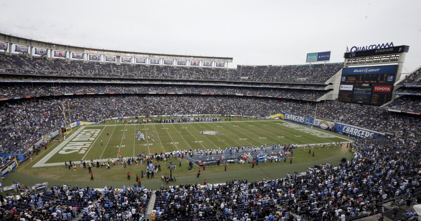 The Chargers are seeking a move from Qualcomm Stadium to a new venue in San Diego as part of a proposed $1.8-billion convention center-stadium project.