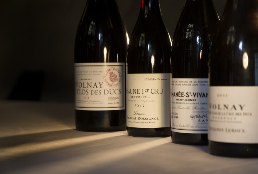 Top burgundy wines at Spago, from left: a 2012 Volnay Clos des Ducs, magnum; 2013 Beaune Premier Cru from Nicolas Rossignol; 1996 Romanée St. Vivant; 2011 Volnay from Benjamin Leroux.