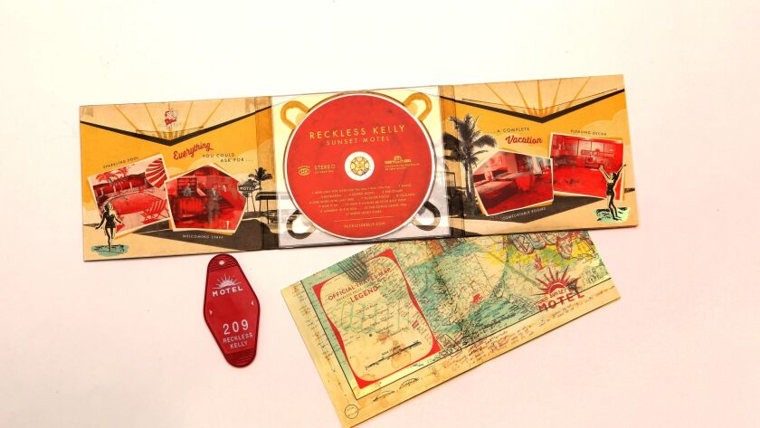"""Sunset Motel"" by Reckless Kelly, whose album package was designed by Sarah and Shauna Dodds."