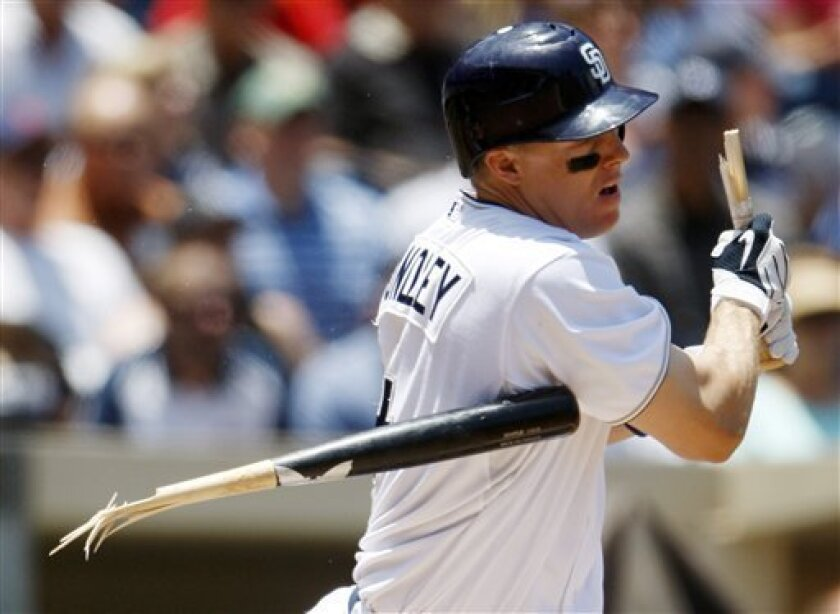 San Diego Padres' Nick Hundley breaks his bat while grounding into a double play in the first inning of a baseball game against the Colorado Rockies, Wednesday, June 30, 2010, in San Diego. (AP Photo/Lenny Ignelzi)