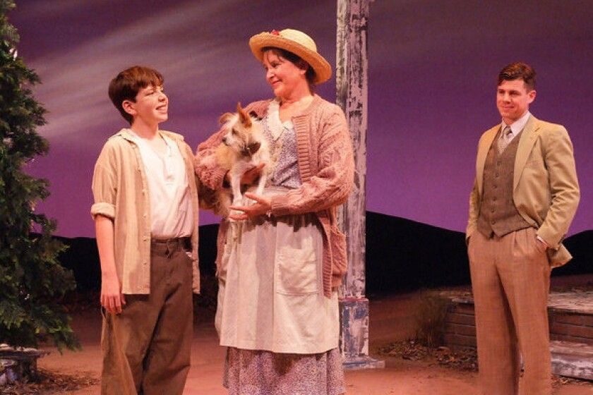 """William Spangler, left; Pickle the dog, Marsha Waterbury and Ciaran McCarthy star in """"A Christmas Memory."""""""