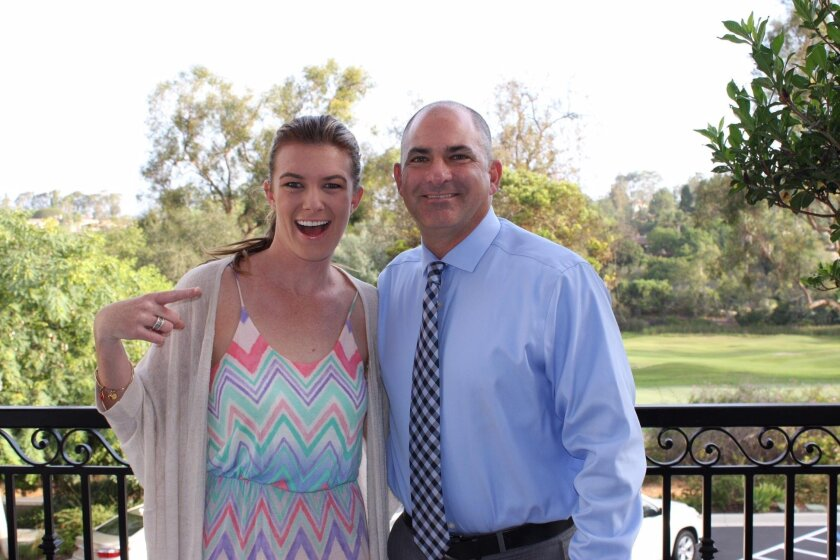 Rancho Santa Fe School District Superintendent David Jaffe with his former student Allison Munson, who is now a second grade teacher at R. Roger Rowe School.