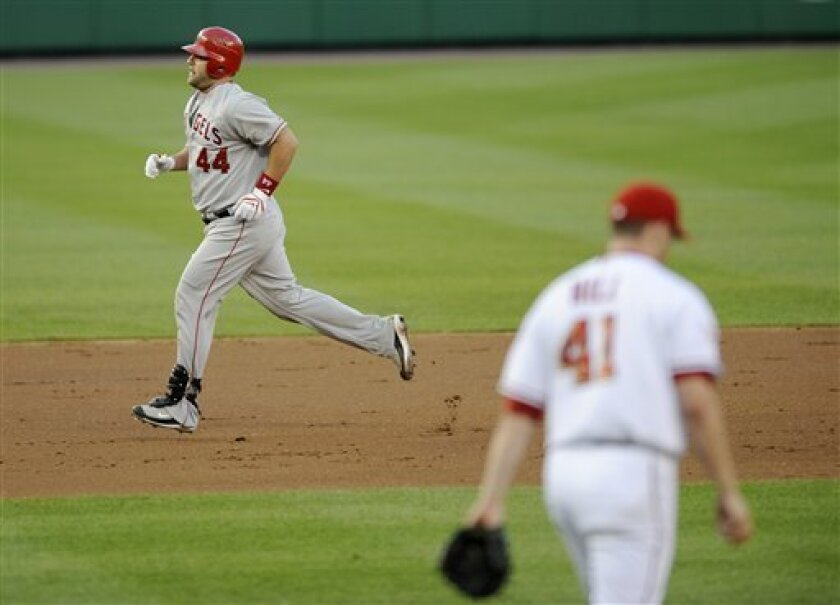 Los Angeles Angels' Mike Napoli (44) rounds the bases after he hit a two-run home run off of Washington Nationals starter Shawn Hill (41) during the third inning of a baseball game Tuesday, June 24, 2008, in Washington.(AP Photo/Nick Wass)