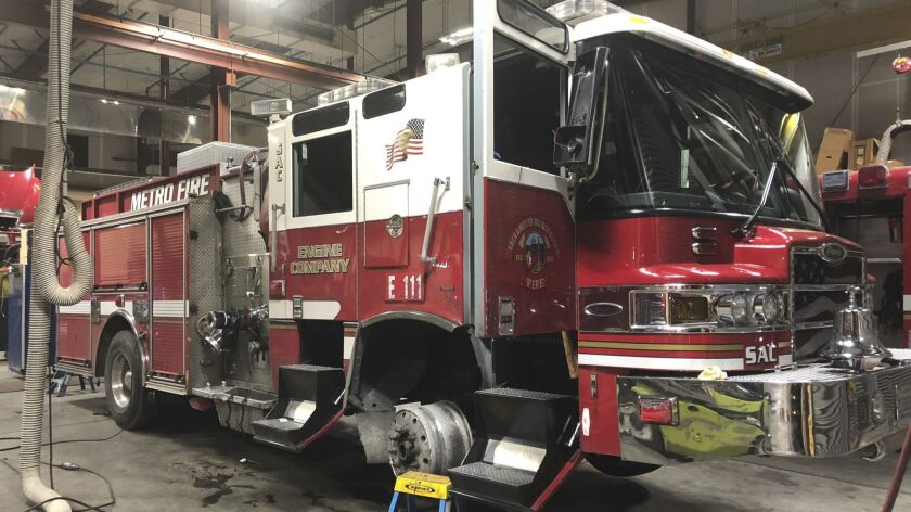 This Saturday, July 14, 2018, photo released by Sacramento Metro Fire shows their stolen fire truck