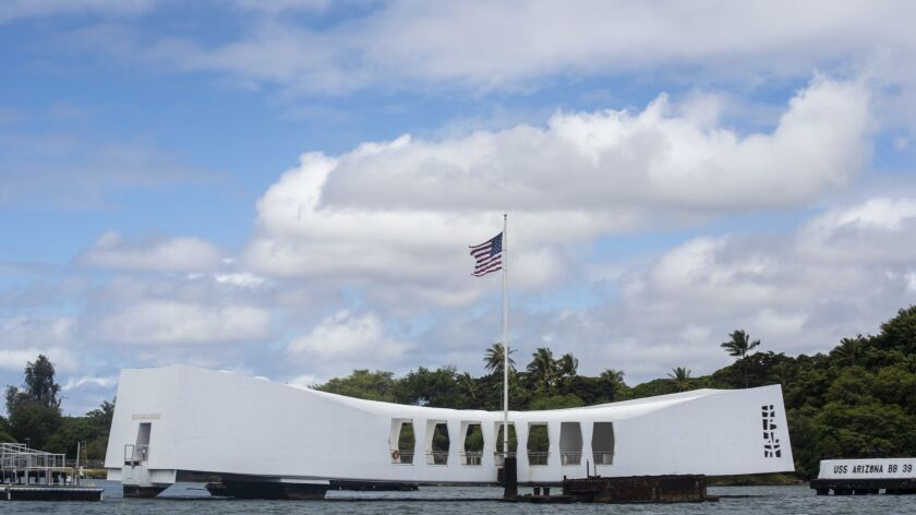 HONOLULU, HAWAII - JUNE 28:The USS Arizona Memorial at the World War II Valor in the Pacific Nationa