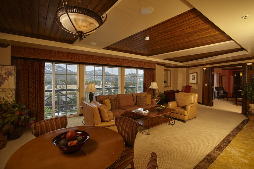 The stately suites at Barona Resort & Casino are as big, or bigger, than the average American home, with full living and dining areas, leather furniture, a butler's pantry, his and hers walk-in closets, and more.