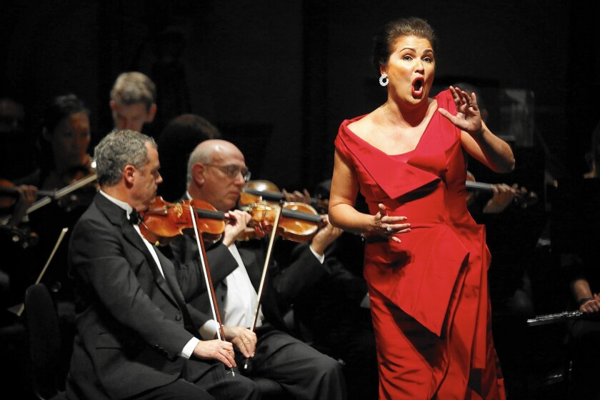 Singer Anna Netrebko brought big emotions, a big voice, a big presence and a very big sound to the Broad Stage during her and husband Yusif Eyvazov's only stop in the United States. Her dramatic operatic performance with orchestra will be repeated Friday.