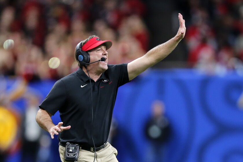 Georgia coach Kirby Smart calls out from along the sideline during the first half of the team's Sugar Bowl NCAA college football game against Baylor in New Orleans, Wednesday, Jan. 1, 2020. (AP Photo/Brett Duke)