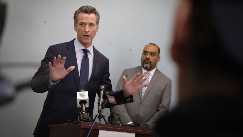 SAN DIEGO, CA 11/29/2018: California Governor-elect Gavin Newsom held a press conference at the Casa