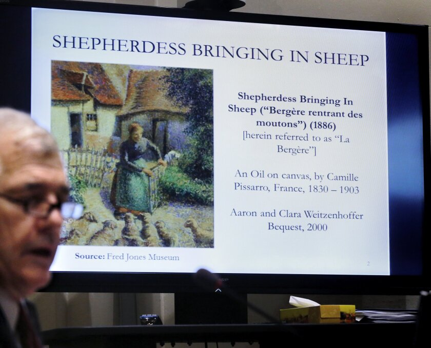 Camille Pissarro's disputed painting in the University of Oklahoma's art collection is shown at an Oklahoma state legislative hearing in 2014.