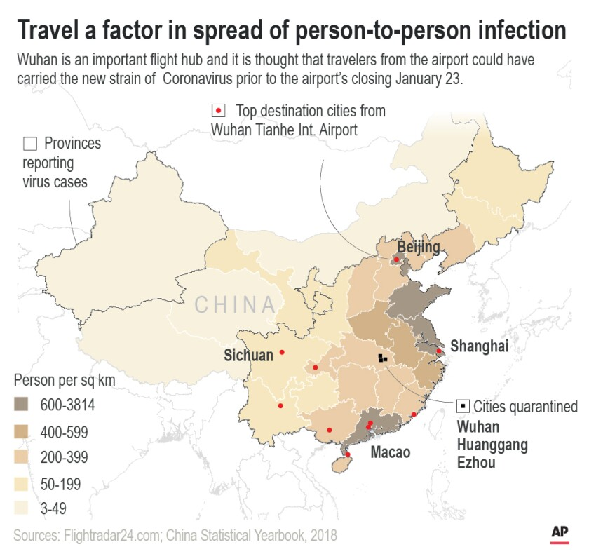 A map of how the coronavirus is spreading from Wuhan to other parts of China