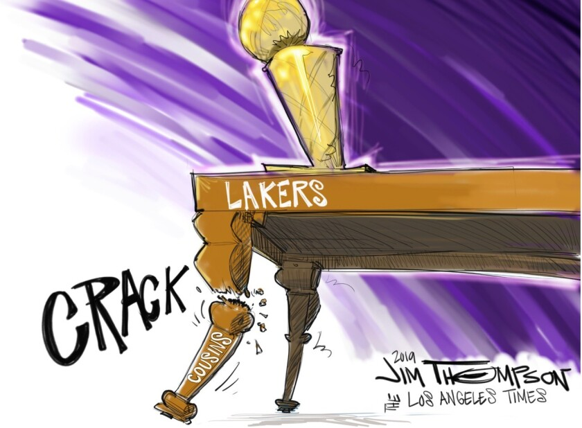 """Cartoon of a table marked """"Lakers"""" with a leg marked """"Cousins"""" snapping off and the word """"crack"""" next to it."""