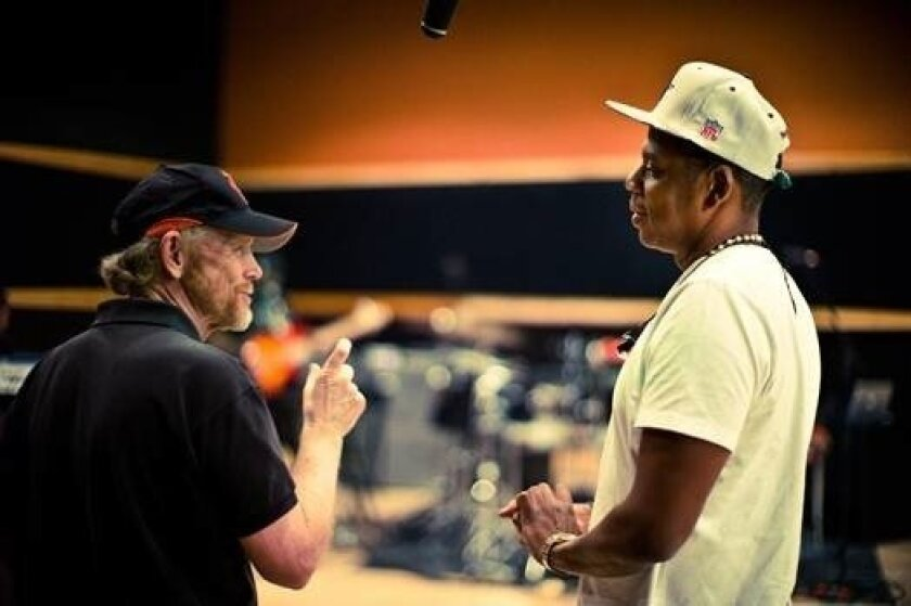 """Unlikely collaborators: Ron Howard and Jay Z in the documentary """"Made in America."""""""