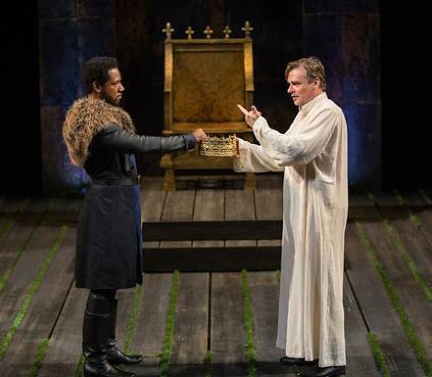 TextEditor Tory Kittles as Henry Bolingbroke and Robert Sean Leonard as King Richard II in King Richard II, by William Shakespeare, directed by Erica Schmidt, running June 11 - July 15.
