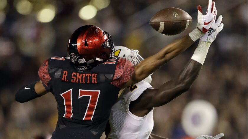 San Diego State cornerback Ron Smith (17) breaks up a pass intended for Arizona State wide receiver