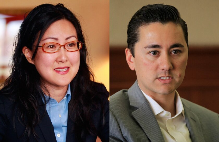 Candidates for San Diego City Council dist. 6 Carol Kim (L) and Chris Cate