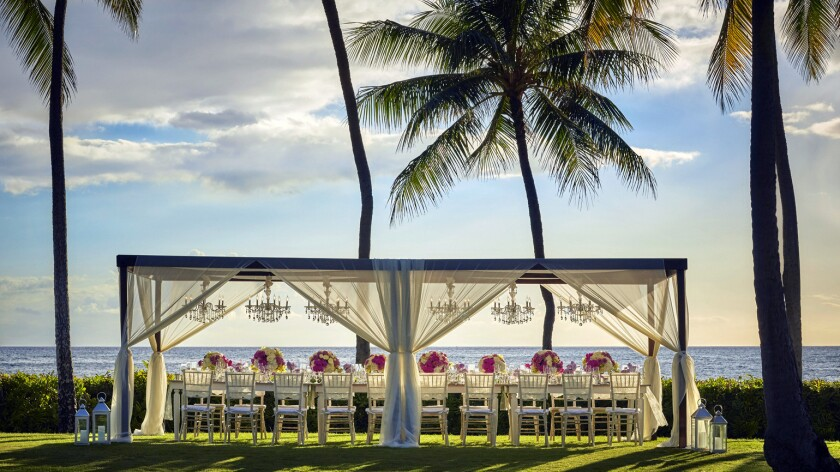 Special events, including weddings, can be catered on the oceanfront lawn at the new Four Seasons resort, the company's first property on Oahu.
