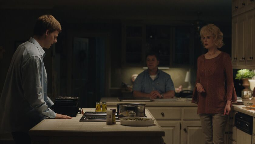 (L-R) - Lucas Hedges stars as Jared and Russel Crowe and Nicole Kidman as Jared's parents, Marshall