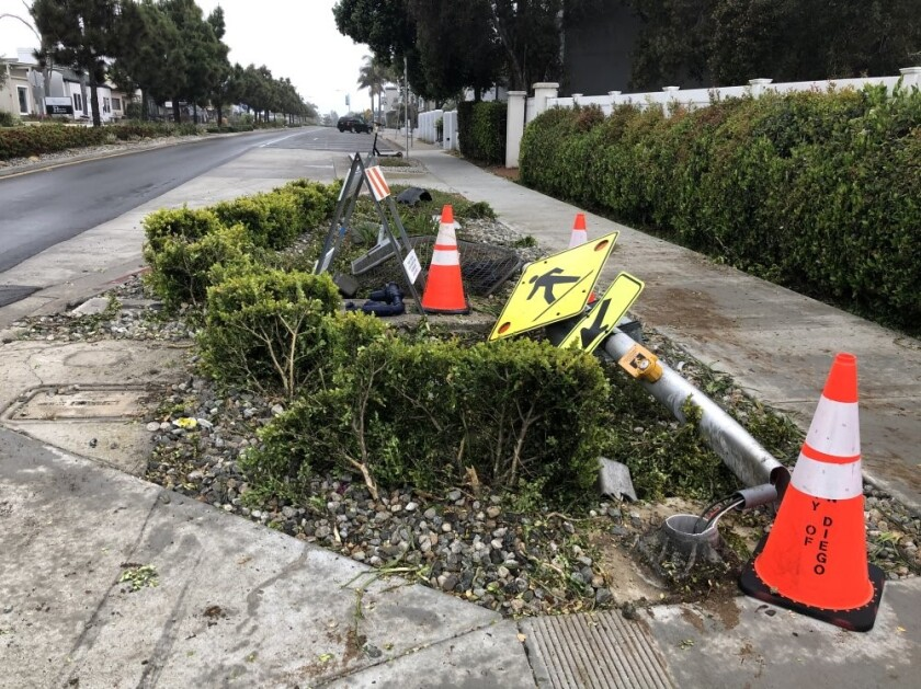 A vehicle drove over a portion of a roundabout and into the landscaped crossing area in Bird Rock.