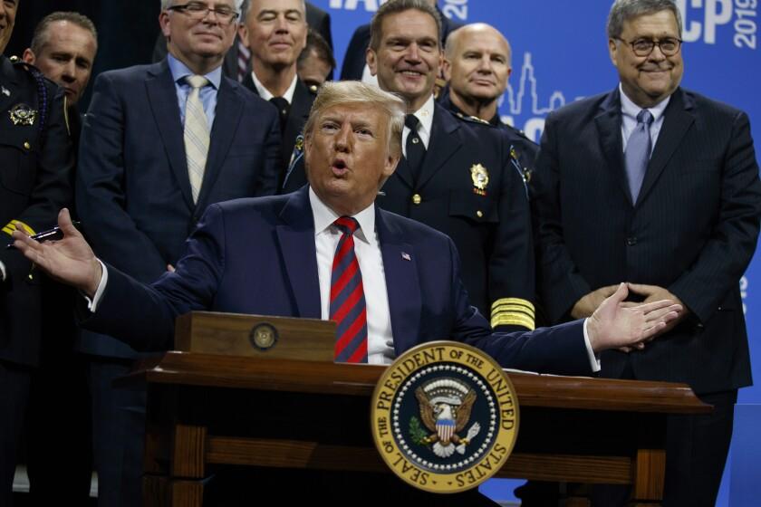 President Trump speaks in Chicago on Monday.