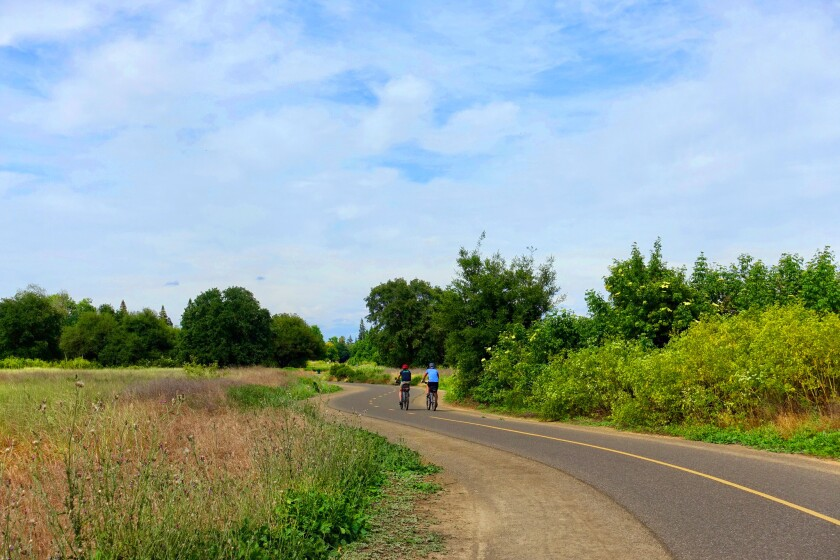 SACRAMENTO, CA-- Terrain along the mostly flat, 32-mile American River Parkway varies from open fiel