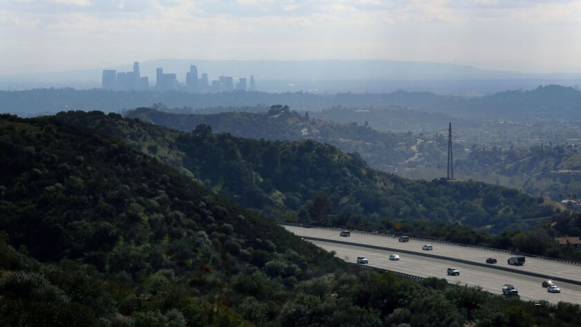LA CANADA FLINTRIDGE FEBRUARY 28, 2018: A view of Downtown LA and the 2 Freeway , as seen from the D