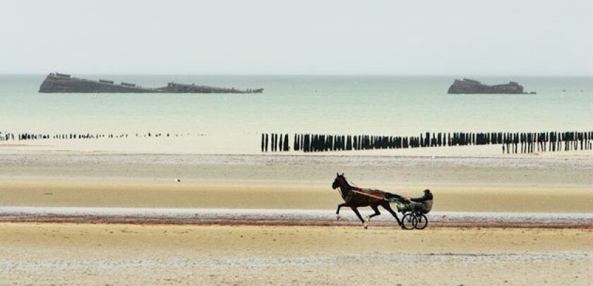 A jockey and his horse train on Utah Beach, passing the wreckage of a World War II ship. (Remy Mauviniere / Associated Press)