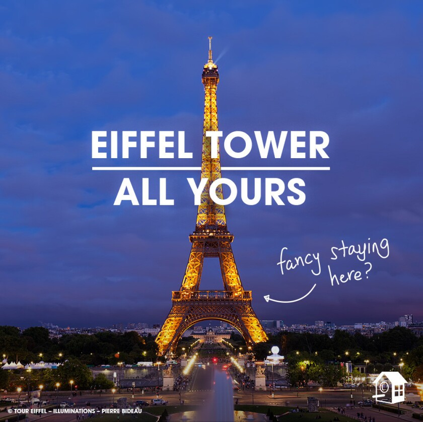 HomeAway shows where the pop-up apartment on the Eiffel Tower will be in this promotional illustration.